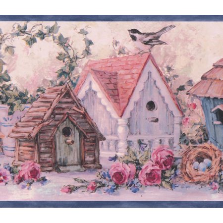 Birdhouses Wallpaper Border - Rustic Pink Blue Flowers Birdhouses Vintage Wallpaper Border Retro Design, Roll 15' x 7''