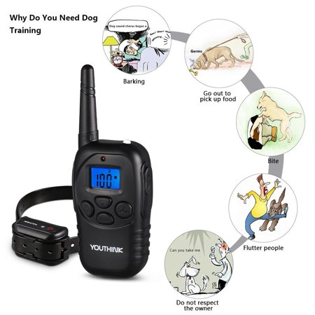 Deep Waterproof & Rechargeable Dog Training Collar with Remote Best for Swimming Training Electronic Shock Collar with Beep / Vibrate / Shock / LED