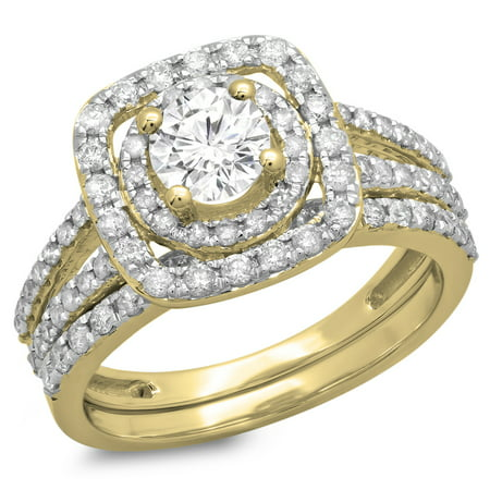 Dazzlingrock Collection 1.30 Carat (ctw) 14K Round Cut Diamond Bridal Split Shank Engagement Ring Set, Yellow Gold, Size 7.5