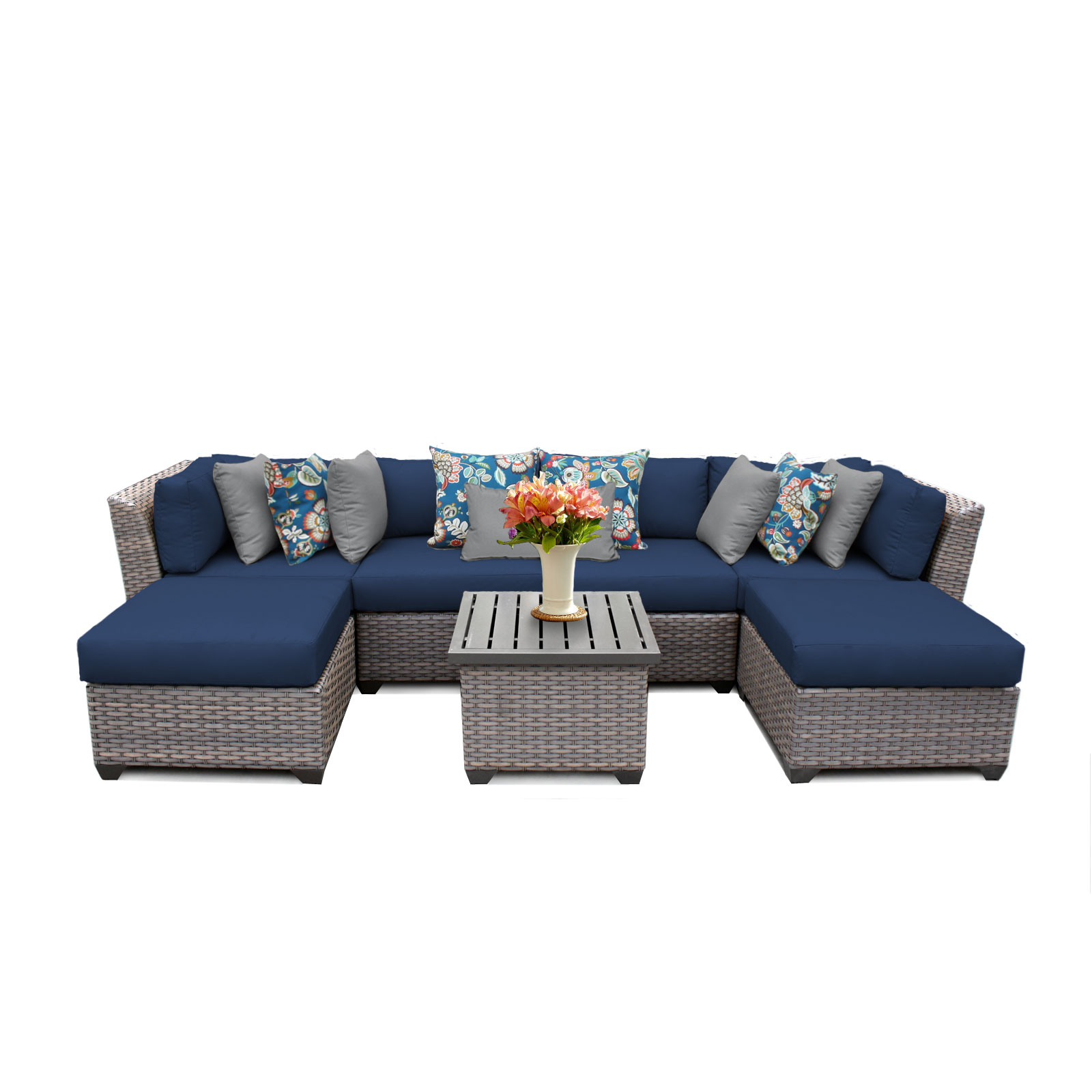 Catalina 7 Piece Outdoor Wicker Patio Furniture Set 07a
