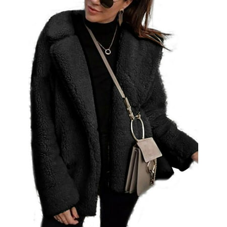 Luxury Faux Fur Long Sleeve Women Coat Fleece Winter Warm Jacket Teddy Bear Coat