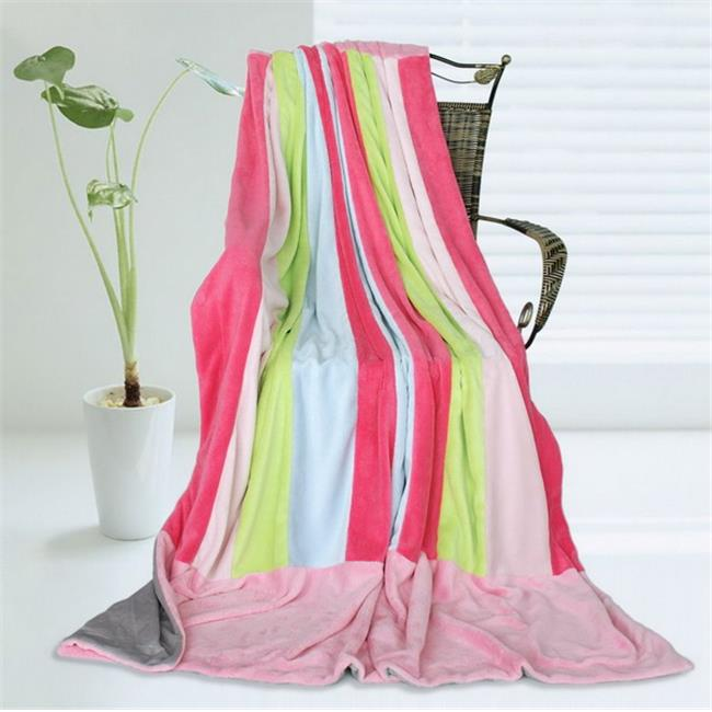 ONITIVA-BLK-068 Onitiva - Pink Colour Soft Coral Fleece Patchwork Throw Blanket