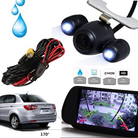 Universal 170° CMOS Waterproof Car Rear View Reversing Backup Parking Camera Night Vision + 2 LED PAL 50HZ / NTSC 60HZ Video (Ntsc Led)