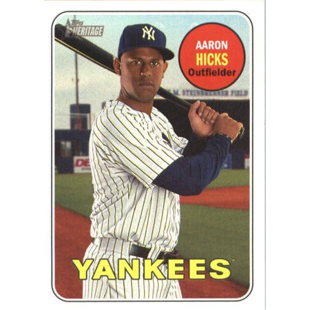 2018 Topps Heritage 138 Aaron Hicks New York Yankees Baseball Card