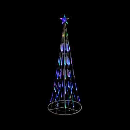 9' White Double Tier Bubble Cone Christmas Tree Lighted Yard Art Decoration - Multi Lights