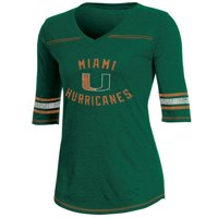 Women's Russell Athletic Green Miami Hurricanes Fan Half-Sleeve V-Neck T-Shirt