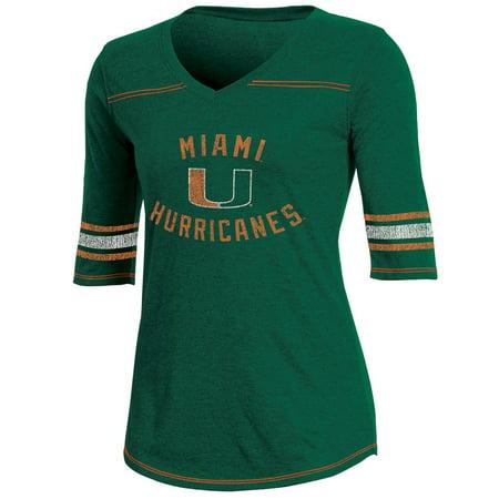 Miami Hurricanes Santa (Women's Russell Green Miami Hurricanes Fan Half-Sleeve V-Neck)