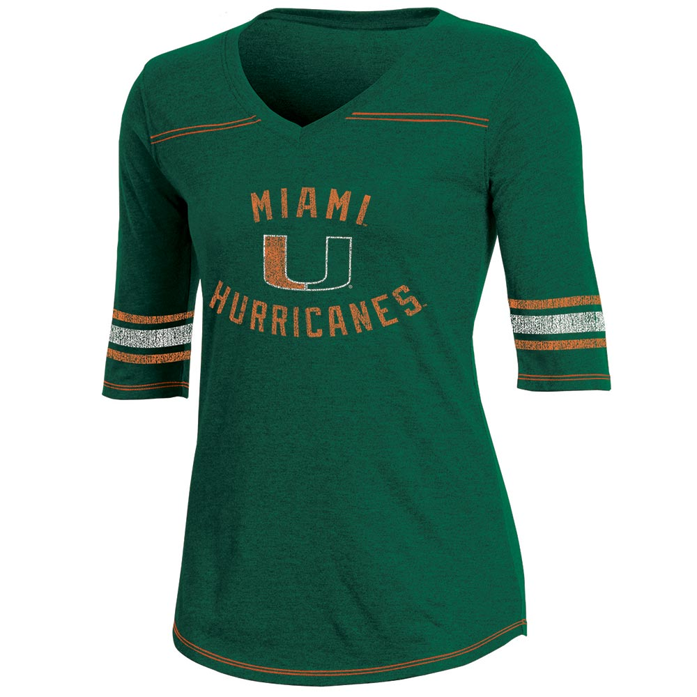 Women's Russell Green Miami Hurricanes Fan Half-Sleeve V-Neck T-Shirt