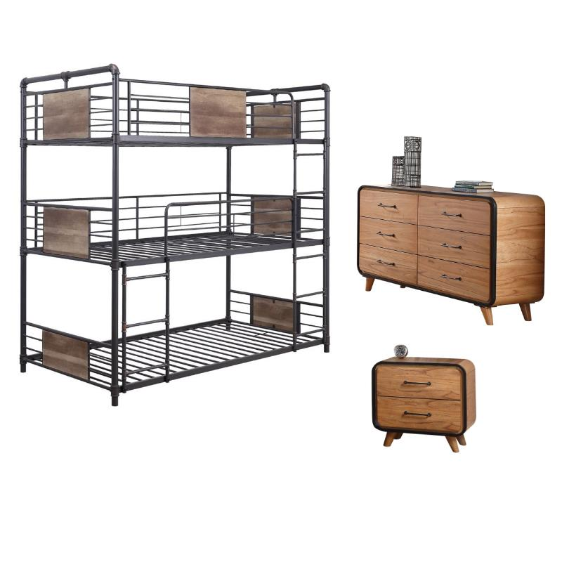 Carla 3 Piece Kids Triple Bunk Bed with 6 Drawer Dresser and