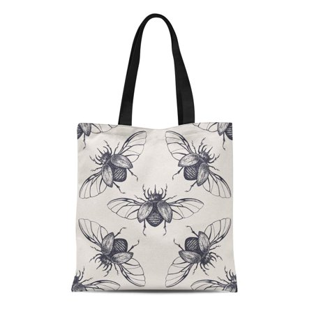 SIDONKU Canvas Tote Bag Pattern Beetles Wings Vintage Bug Halloween Antique Biology Black Durable Reusable Shopping Shoulder Grocery Bag