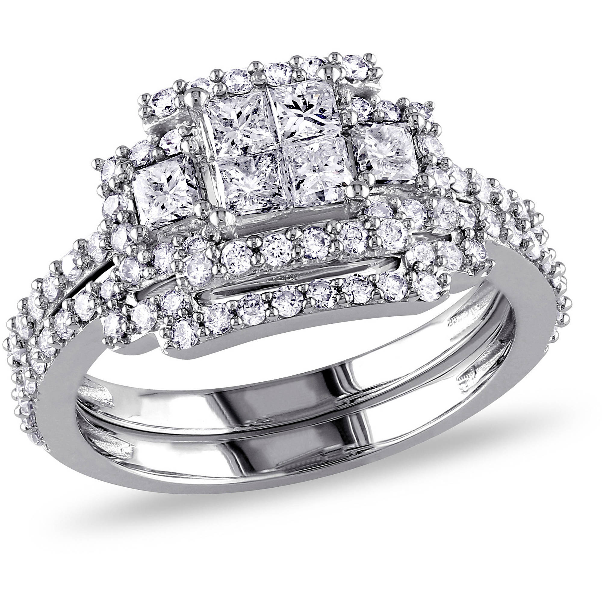 Miabella 1-1/5 Carat T.W. Princess and Round-Cut Diamond 14kt White Gold Bridal Set