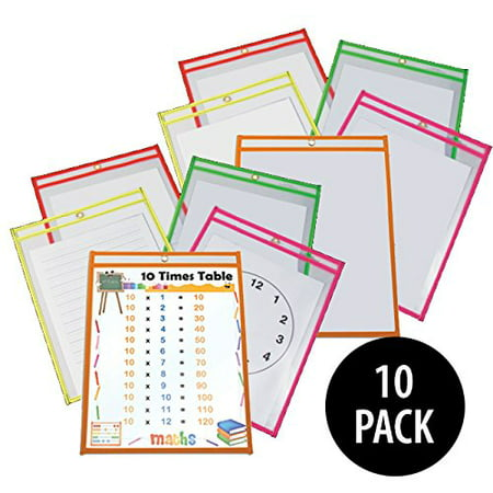 KOVOT Dry Erase Pockets - Set of 10 Multicolored Reusable Wipe Clear Pockets (10 Pockets Included)](Dry Erase Pockets)