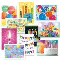 Graphic Birthday Greeting Cards Value Pack – Set of 20 (10 Designs), Large 5 x 7 inches, Envelopes Included, by Current