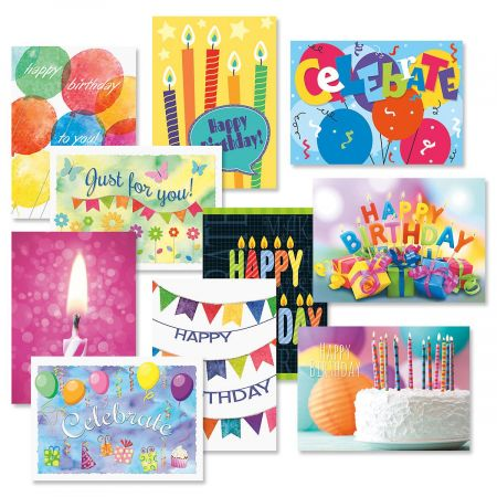 Graphic Birthday Cards Value Pack - Set of 20 (2 of each)