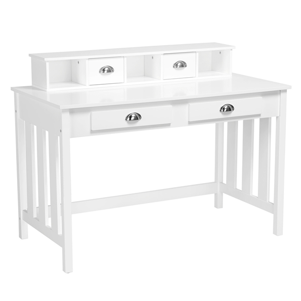 Wood Writing Desk Computer PC Table Home Office Study w/4 Drawers White -  Walmart.com
