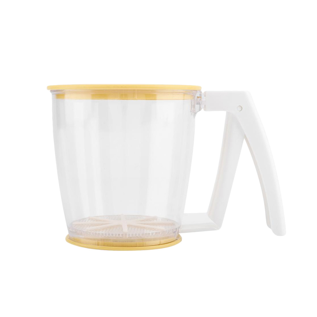 Mechanical Flour Strainer Powder Mesh Sieve Baking Supplies Tools with Lid Hand-held Cup Flour Sifter Strainer
