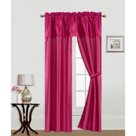 """Knight Hot Pink 5-Piece Rod Pocket Faux Silk Light Softly Filtering Window Panel Set, 2 Panels, 1 Attached Valance and 2 Tie Backs 54""""W x 63""""L"""