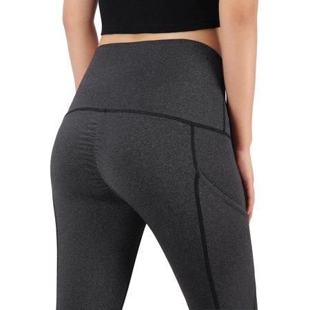 Workout Womens Capris - HDE Workout Capri Leggings for Women Butt Lifting 3/4 Length Pocket Yoga Pants (Charcoal, Small)