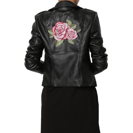 pretty cool free delivery half price TheMogan Junior's Flower Rose Embroidered Faux Leather Moto Jacket