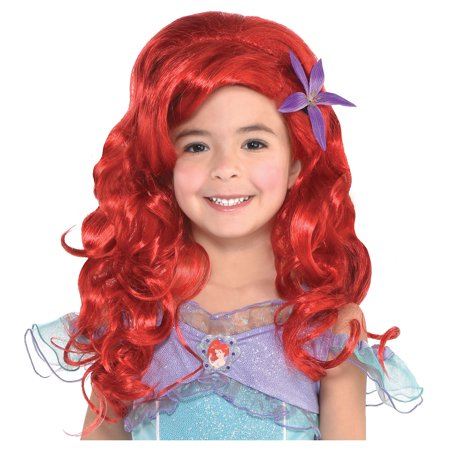 Long Ariel Wig for Kids, The Little Mermaid, Halloween Accessories, One Size - Ariel Little Mermaid Wig