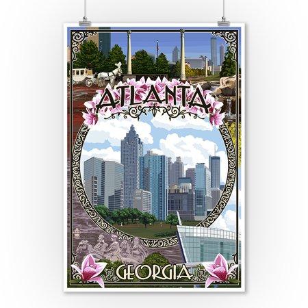 Atlanta, Georgia - City Scenes Montage - Lantern Press Poster (9x12 Art Print, Wall Decor Travel (Kids Atlantic City)