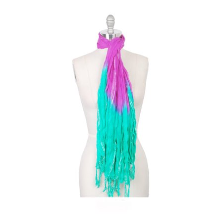 Amtal Women Two Color Tie & Dye Lurex Ombre Oblong Soft Casual Scarf w/