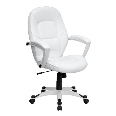 Tapered Back (Mid-Back White Leather Tapered Back Executive Swivel Office Chair with White Base and Arms)