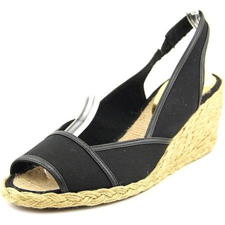 Lauren Ralph Lauren Catrin Women  Open Toe Canvas Black Wedge Sandal