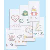 """Stamped White Decorative Hand Towels 15""""X30"""" Set Of 7-Holidays Of The Year"""
