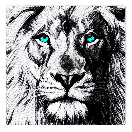Startonight Canvas Wall Art Black And White Abstract Lion Draw Blue Eyes Animals Jungle Dual