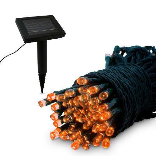 100 LED Solar Powered Light String - Orange