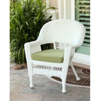 "36"" White Resin Wicker Outdoor Patio Garden Chair with Green Cushion"