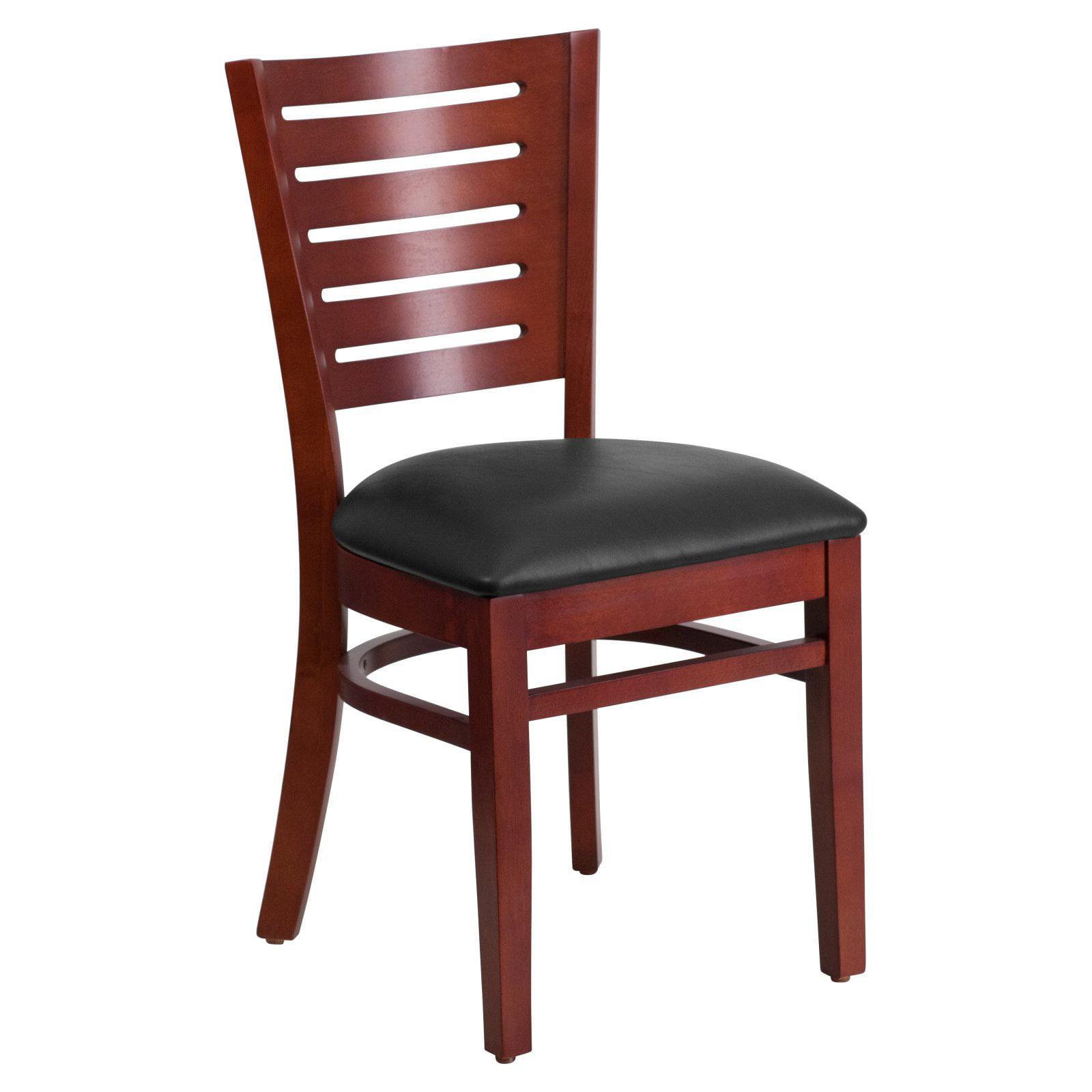 Flash Furniture Darby Series Slat Back Mahogany Wooden Restaurant Chair, Vinyl Seat, Multiple Colors