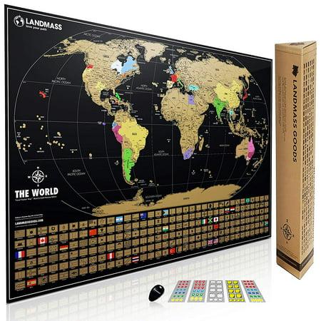 Xl landmass scratch off world map poster 24x36 travel tracker map xl landmass scratch off world map poster 24x36 travel tracker map print w flags gumiabroncs Choice Image