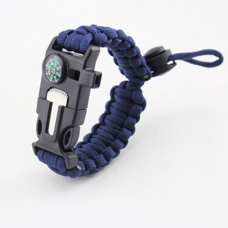 Survival Bracelet with Paracord Compass Fire Starter and Whistle Emergency Survival Kit Wilderness Survival Kit - Paracord Compass