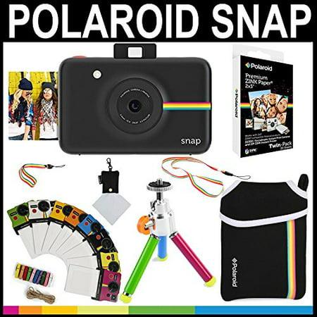 fd2961da76ec6 Polaroid Snap Instant Camera (Black) + 2x3 Zink Paper (20 Pack) + Neoprene  Pouch + Photo Frames + Accessory Bundle - Walmart.com