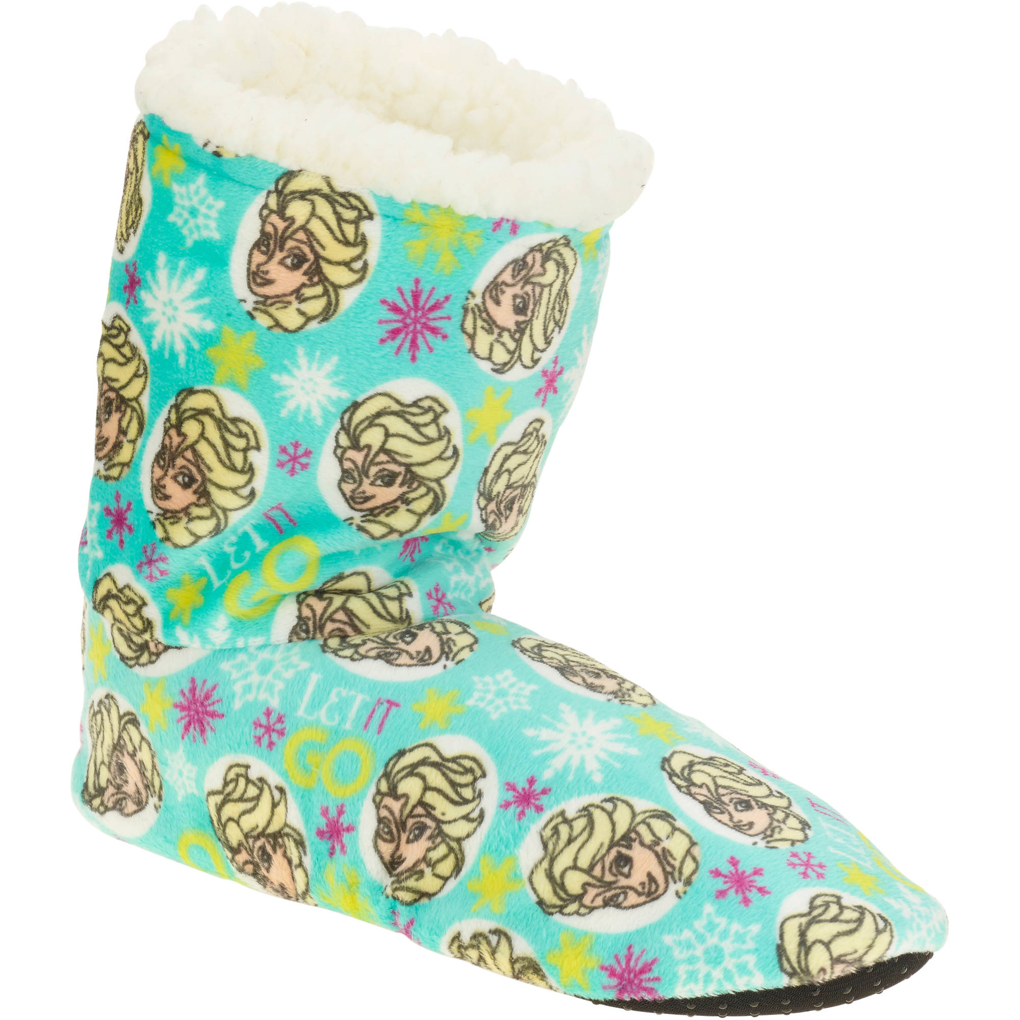 Silky Suede Fuzzy Babba Elsa Let It Go Printed Bootie Slipper Socks
