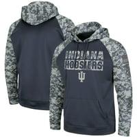 Indiana Hoosiers Colosseum OHT Military Appreciation Digi Camo Raglan Pullover Hoodie - Charcoal/Camo