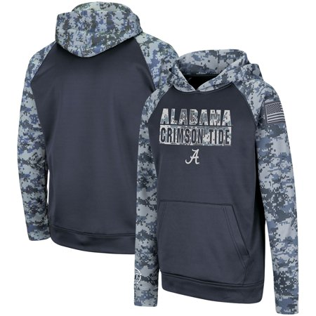 Alabama Crimson Tide Colosseum Youth OHT Military Appreciation Digi Camo Raglan Pullover Hoodie - Charcoal thumbnail
