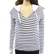 Splendid NEW White Blue Striped Women's Size XS Hooded Ribbed Sweater
