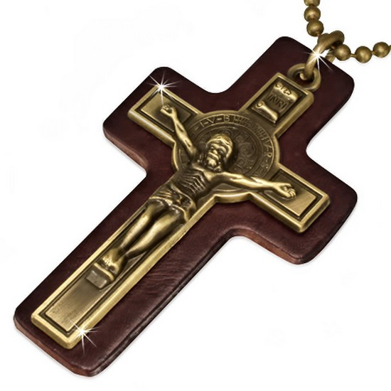 Extra Large Fashion Alloy Brown Leather Yellow Gold-Tone Religious Cross Mens Pendant Necklace