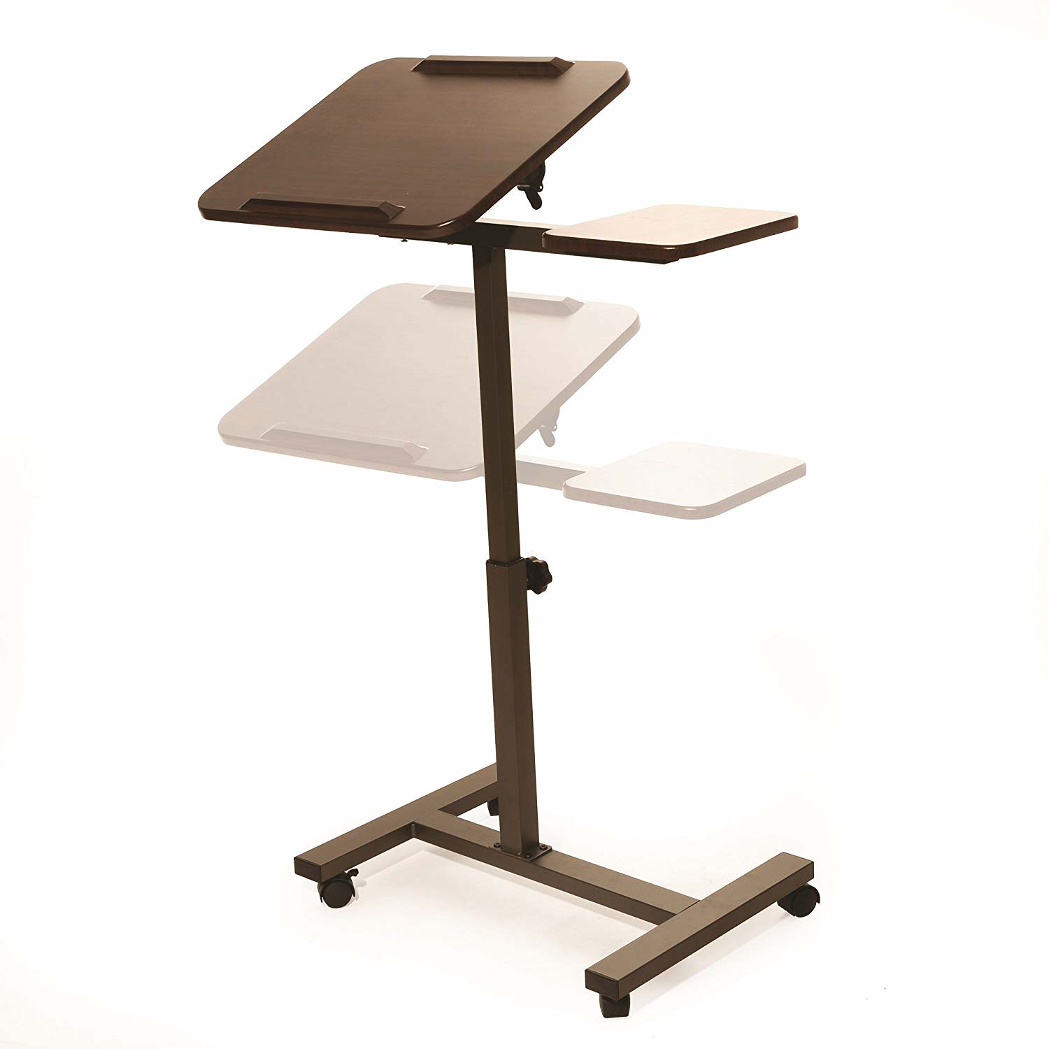 Sit-Stand Desk Laptop Cart with Side Table by Seville Classics