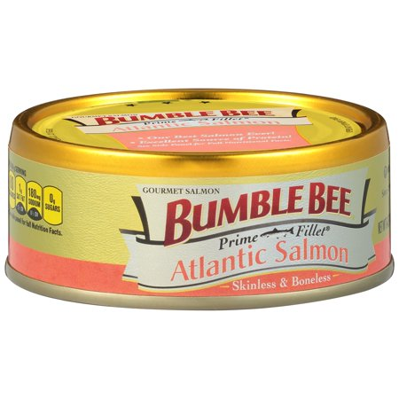 - (2 Pack) Bumble Bee Prime Fillet Skinless and Boneless Atlantic Salmon, Ready to Eat Salmon, High Protein Food, 5oz Can