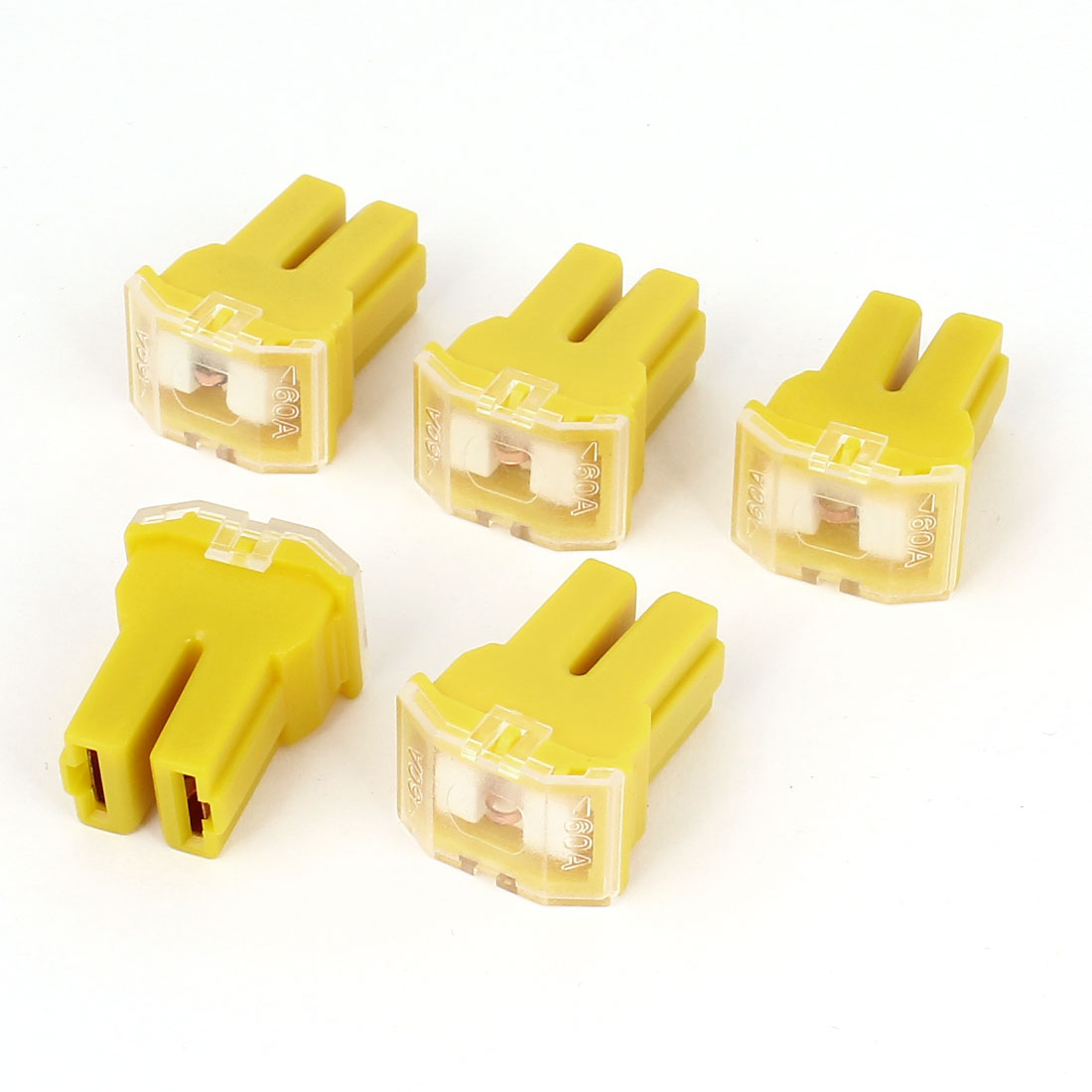 Unique Bargains 5 Pcs Yellow 60A 32V Female Plug in  Cartridge PAL Fuse for Car