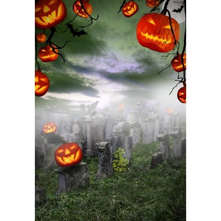 GreenDecor Polyster 5x7ft Spooky Halloween Pumpkins on Cemetery Photography Backdrops Indoor Studio Backgrounds Photo Props