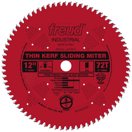 Freud LU91R012 12-Inch 72-TPI Carbide Thin Kerf Sliding Compound Miter Saw