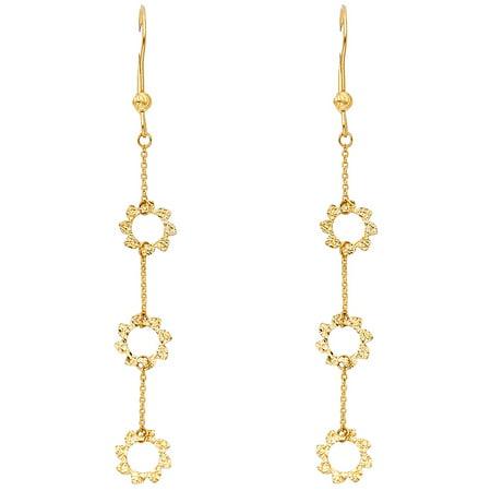 Flower Dangle Earrings Solid 14k Yellow Gold Long Hanging Chain Diamond Cut Fancy Style 72 x 8 (Dangle Chain Fancy Earrings)
