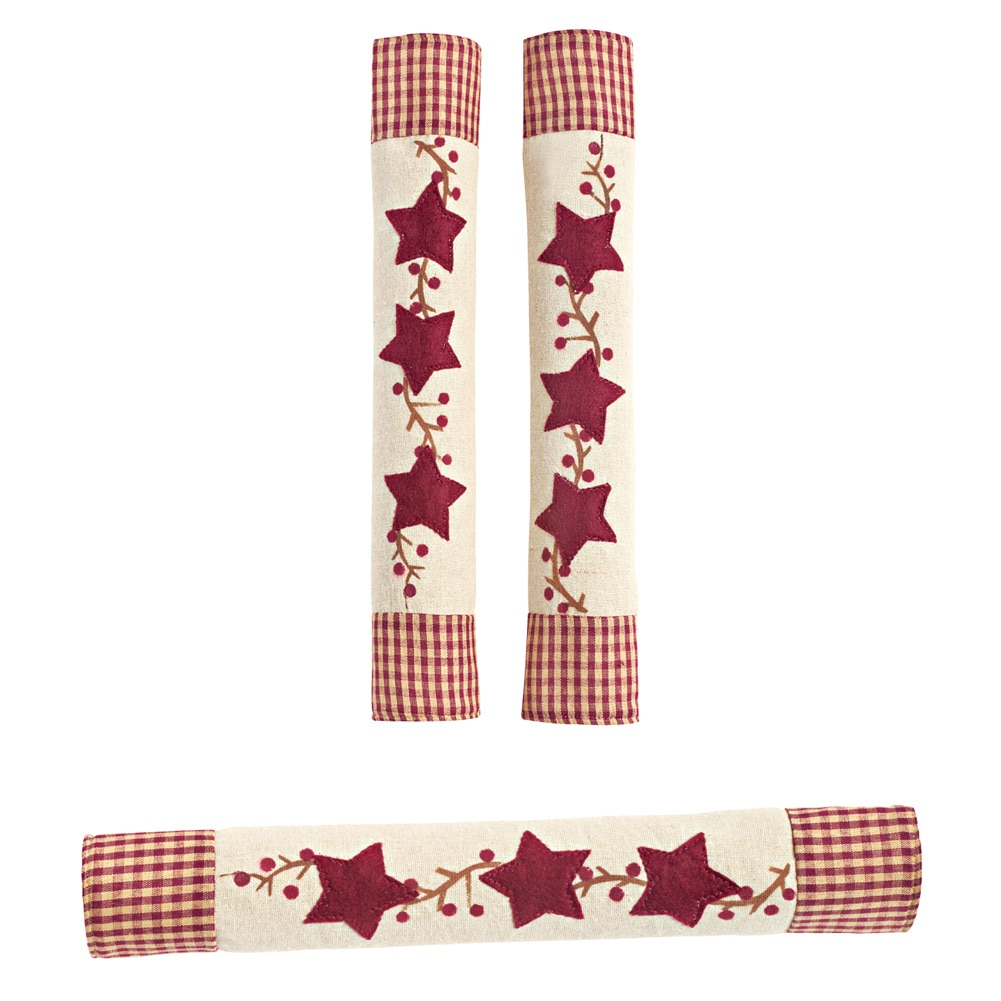 Star Oven And Refrigerator Handle Covers - Set Of 3, Red