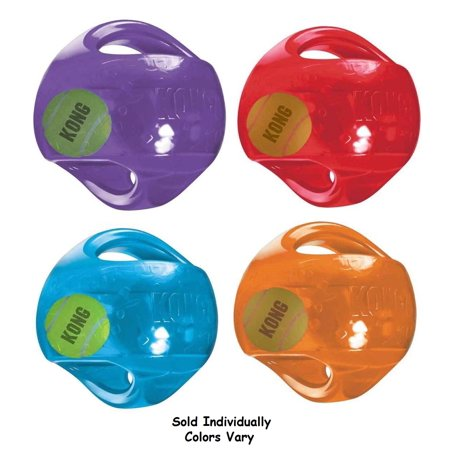 Large Dog Toy Jumbler Ball Shaped Tennis Ball inside 2-in-1 Squeaker Colors (Inside Ball)