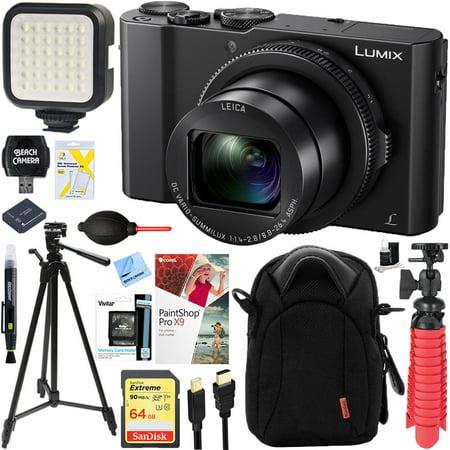 Panasonic LUMIX LX10 20.1 MP 3x F/1.4-2.8 Leica DC Optical Zoom Digital Camera Black Bundle with 64GB Memory Card, Battery, LED Light, Cable, Bag, Mini Tripod, 60 Inch Tripod and Paintshop Pro 2018